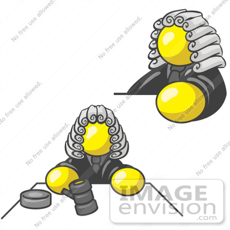 #37811 Clip Art Graphic of a Yellow Guy Character Judge by Jester Arts