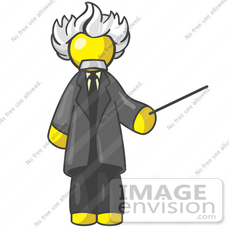 #37850 Clip Art Graphic of a Yellow Guy Character as Einstein by Jester Arts