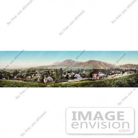 #40896 Stock Photo of a Panoramic View Of The City Of Boulder, Colorado, With The Rocky Mountains In The Distance by JVPD