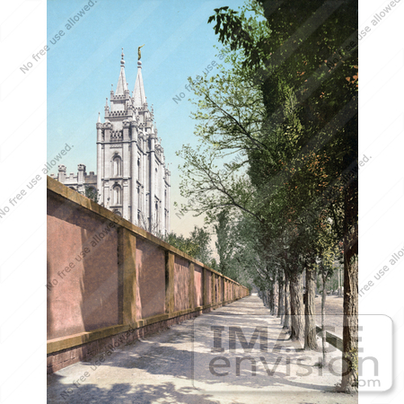 #41023 Stock Photo Of A Tree Lined Sidewalk Along A Wall By The Temple In Salt Lake City, Utah by JVPD