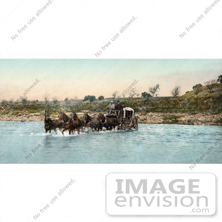 #41039 Stock Photo Of A Team Of Horses Pulling A Carriage While Crossing The Santa Ynez River In California by JVPD