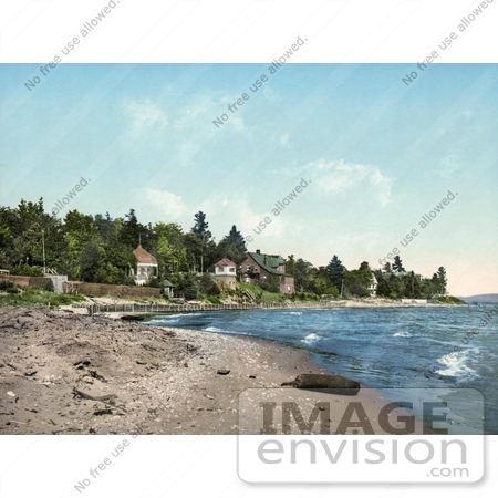 #41122 Stock Photo Of A Beach Near A Clubhouse On The Shore Of Lake Michigan by JVPD