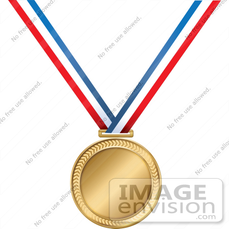 Clip Art Graphic of a Golden First Place Medal On A Red, White And