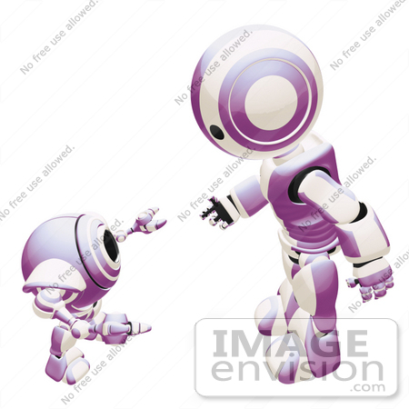 #42237 Clip Art Graphic of a Purple Futuristic Robot Discussing With A Cam by Jester Arts