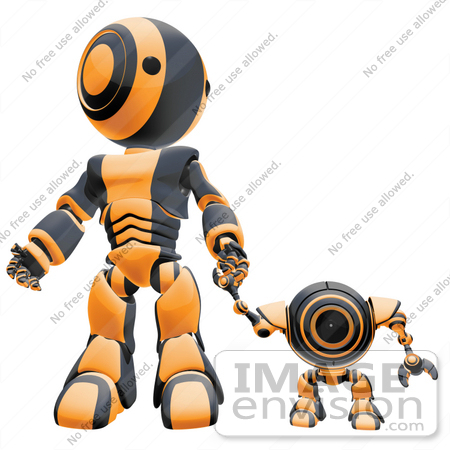 #42246 Clip Art Graphic of an Orange Futuristic Robot Holding Hands With A Cam by Jester Arts