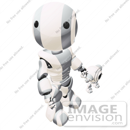 #42267 Clip Art Graphic of a Silver Futuristic Robot Looking Up And Holding Hands With A Cam by Jester Arts