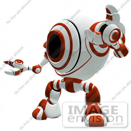#42288 Clip Art Graphic of a Red Cam Holding Up One Arm by Jester Arts