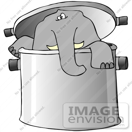 #42355 Clip Art Graphic of an Elephant In A Pot by DJArt