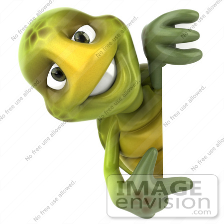 #43047 Royalty-Free (RF) Cartoon Clipart of a 3d Turtle Mascot Smiling And Looking Around A Blank Sign While Pointing by Julos
