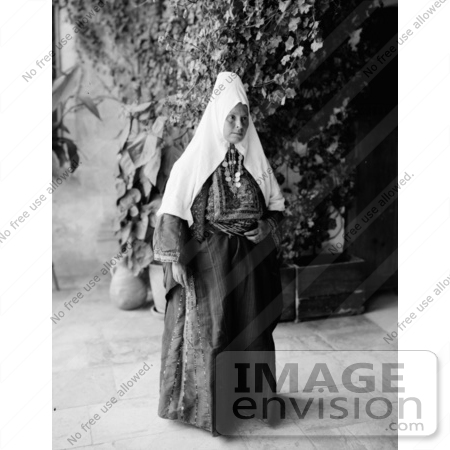#43473 RF Stock Photo Of A Black And White Ramallah Woman Dressed In A Dowry Necklace by JVPD