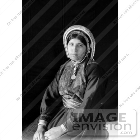 #43478 RF Stock Photo Of A Black And White Portrait Of A Seated Ramallah Woman by JVPD