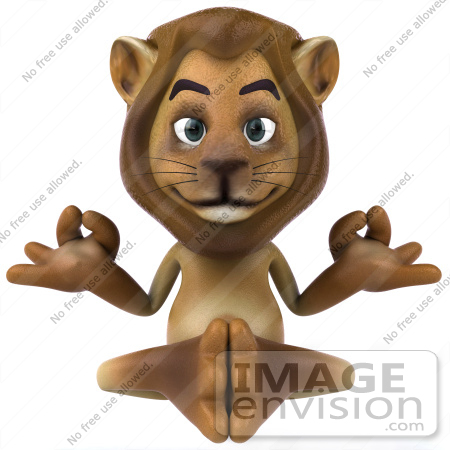 #43537 Royalty-Free (RF) Illustration of a 3d Lion Mascot Meditating - Pose 1 by Julos