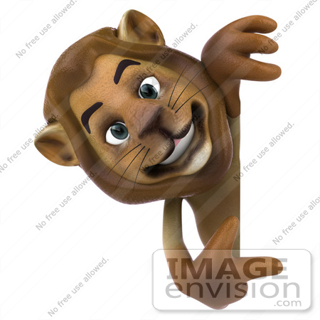 #43539 Royalty-Free (RF) Illustration of a 3d Lion Mascot Pointing To And Looking Around A Blank Sign by Julos