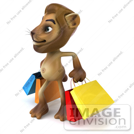 #43553 Royalty-Free (RF) Illustration of a 3d Lion Mascot Carrying Shopping Bags - Pose 2 by Julos
