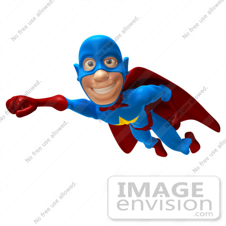 #43643 Royalty-Free (RF) Cartoon Illustration of a Friendly 3d Superhero Mascot Smiling And Flying Past by Julos