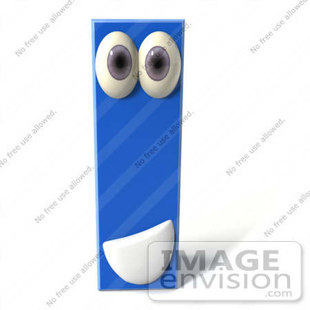 #43678 Royalty-Free (RF) Illustration of a 3d Blue Alphabet Letter I Character With Eyes And A Mouth by Julos