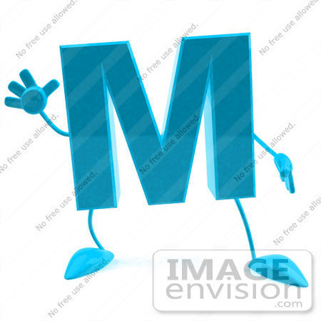 #43754 Royalty-Free (RF) Illustration of a 3d Turquoise Letter M Character With Arms And Legs by Julos