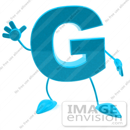 #43760 Royalty-Free (RF) Illustration of a 3d Turquoise Letter G Character With Arms And Legs by Julos