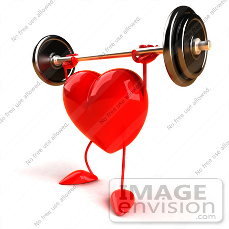 #43779 Royalty-Free (RF) Illustration of a Romantic 3d Red Love Heart Mascot Lifting A Barbell - Version 4 by Julos