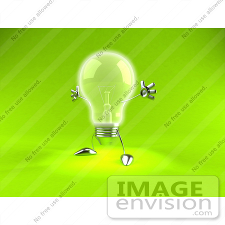 #44328 Royalty-Free (RF) Illustration of a 3d Incandescent Light Bulb Mascot Holding His Arms Out - Version 2 by Julos