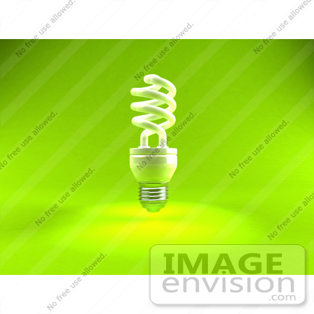 #44331 Royalty-Free (RF) Illustration of a Green 3d Spiral Fluorescent Light - Version 1 by Julos
