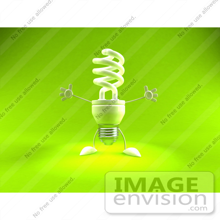 #44333 Royalty-Free (RF) Illustration of a Green 3d Spiral Fluorescent Light Mascot Holding His Arms Open - Version 1 by Julos
