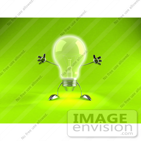 #44335 Royalty-Free (RF) Illustration of a 3d Incandescent Light Bulb Mascot Holding His Arms Out - Version 1 by Julos