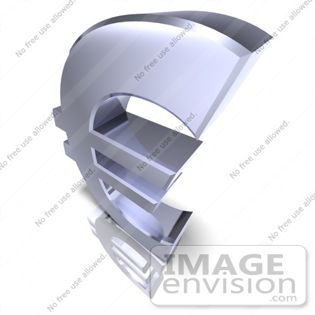 #44593 Royalty-Free (RF) Illustration of a 3d Chrome Euro Symbol On A Reflective White Surface - Version 3 by Julos