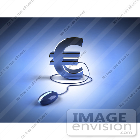 #44607 Royalty-Free (RF) Illustration of a 3d Blue Euro Symbol With A Computer Mouse - Version 1 by Julos