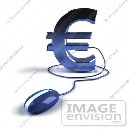 #44611 Royalty-Free (RF) Illustration of a 3d Blue Euro Symbol With A Computer Mouse - Version 4 by Julos