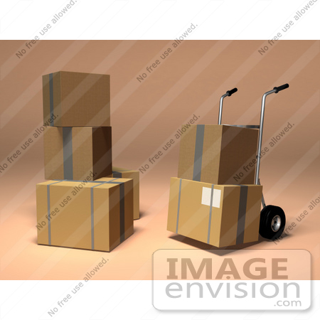 #45355 Royalty-Free (RF) Illustration Of 3d Cardboard Boxes With A Dolly - Version 2 by Julos