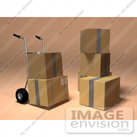 #45356 Royalty-Free (RF) Illustration Of 3d Cardboard Boxes With A Dolly - Version 4 by Julos