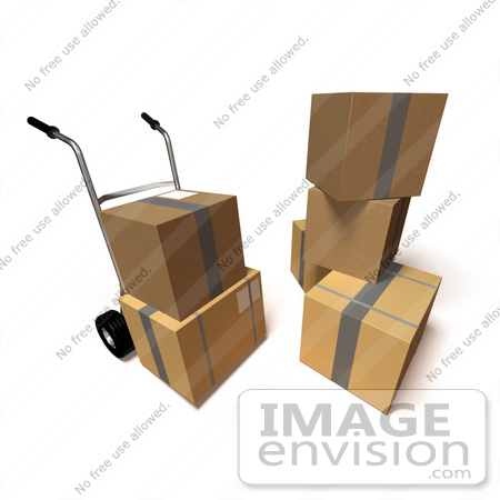 #45357 Royalty-Free (RF) Illustration Of 3d Cardboard Delivery Boxes With A Dolly - Version 5 by Julos