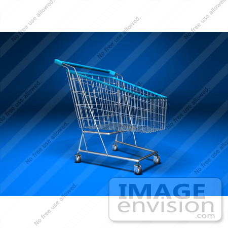 #46698 Royalty-Free (RF) Illustration Of A 3d Empty Blue Rimmed Shopping Cart - Version 3 by Julos