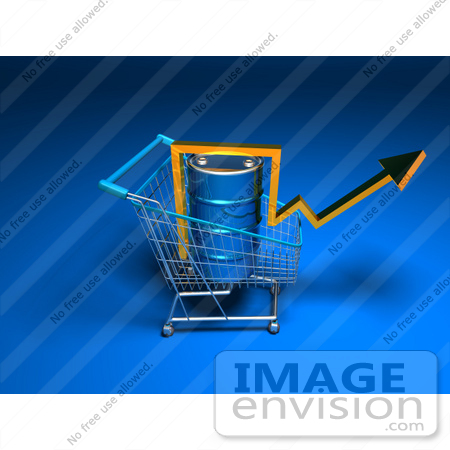 #46705 Royalty-Free (RF) Illustration Of A 3d Arrow Over An Oil Barrel In A Shopping Cart - Version 5 by Julos
