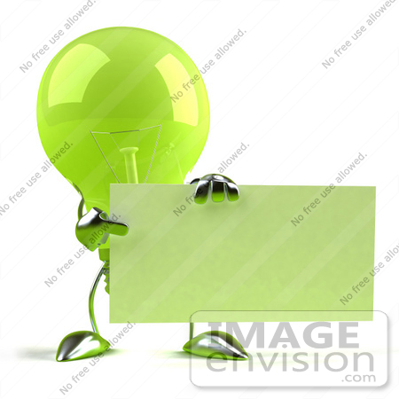 #46761 Royalty-Free (RF) Illustration Of A Green 3d Glass Light Bulb Mascot Holding Up A Blank Business Card Or Sign - Version 2 by Julos
