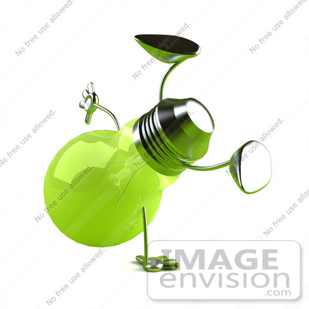 #46768 Royalty-Free (RF) Illustration Of A Green 3d Glass Light Bulb Mascot Doing A Cartwheel - Version 1 by Julos