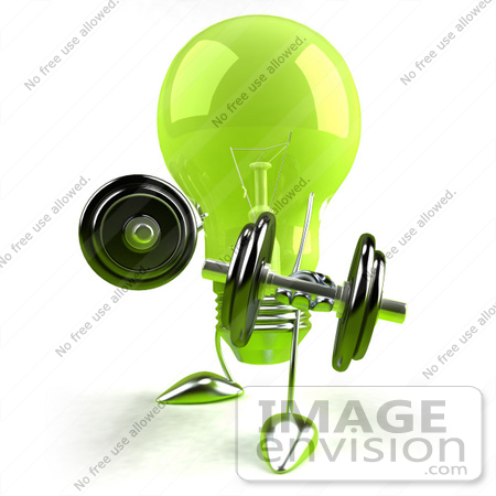 #46769 Royalty-Free (RF) Illustration Of A Green 3d Glass Light Bulb Mascot Lifting Weights - Version 2 by Julos