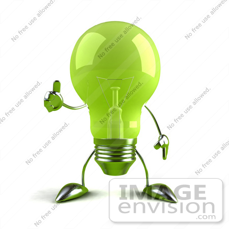 #46771 Royalty-Free (RF) Illustration Of A Green 3d Glass Light Bulb Mascot Giving The Thumbs Up - Version 1 by Julos