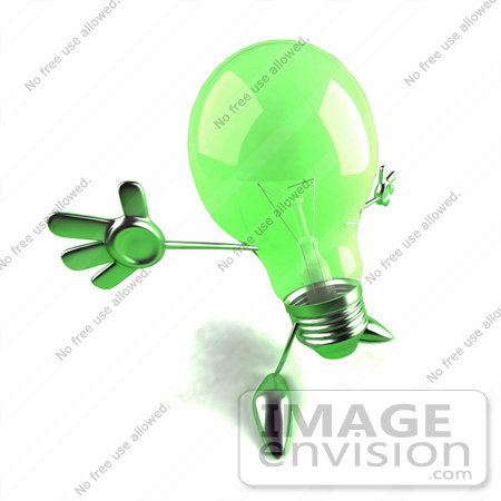 #46772 Royalty-Free (RF) Illustration Of A Green 3d Glass Light Bulb Mascot Holding His Arms Out - Version 2 by Julos