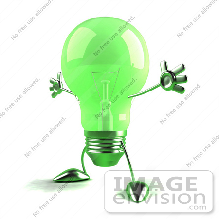 #46773 Royalty-Free (RF) Illustration Of A Green 3d Glass Light Bulb Mascot Holding His Arms Out - Version 3 by Julos