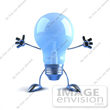 #46787 Royalty-Free (RF) Illustration Of A Blue 3d Glass Light Bulb Mascot Holding His Arms Out - Version 2 by Julos