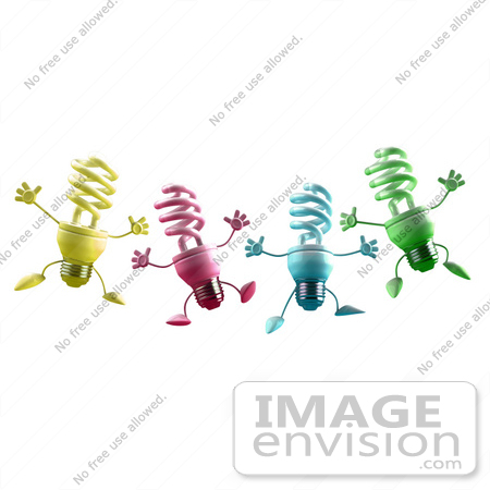 #46812 Royalty-Free (RF) Illustration Of Four Colorful 3d Spiral Light Bulb Mascots Leaping by Julos