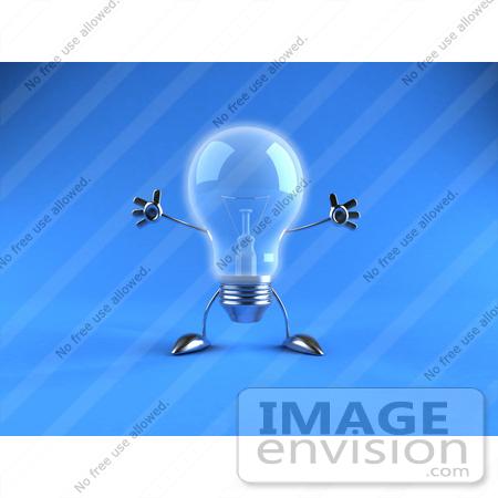 #46825 Royalty-Free (RF) Illustration Of A 3d Glass Light Bulb Mascot Holding His Arms Out - Version 4 by Julos