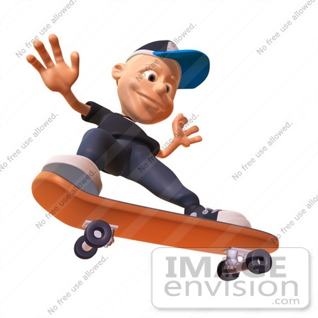 #47732 Royalty-Free (RF) Illustration Of A 3d White Boy Skateboarding - Version 4 by Julos