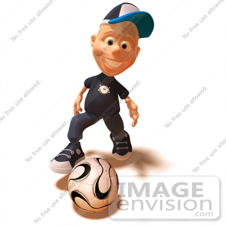 #47737 Royalty-Free (RF) Illustration Of A 3d White Boy Playing Soccer - Version 1 by Julos