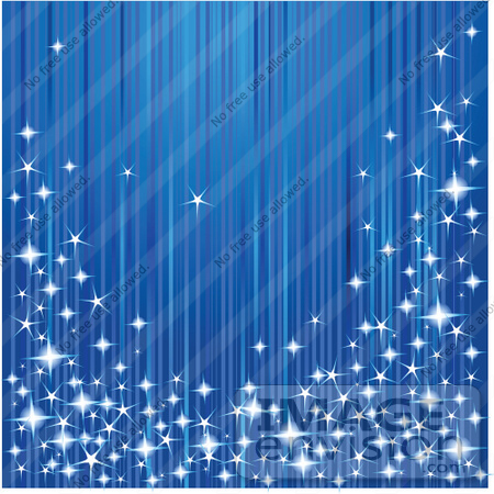 #48511 Clip Art Illustration Of A Blue Lined Xmas Background With Sparkly Lights by pushkin