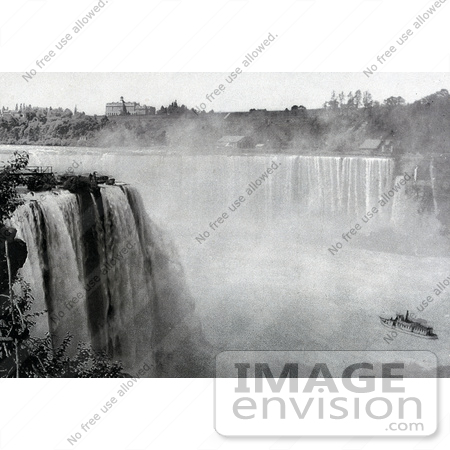 #48813 Royalty-Free Stock Photo Of A Black And White Scene Of The Maid Of The Mist Under Horseshoe Falls From Goat Island by JVPD