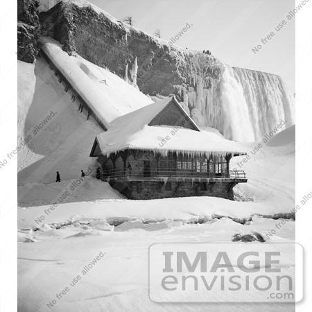 #48819 Royalty-Free Stock Photo Of A Station At Foot Of Incline At The American Falls, In The Winter, Niagara Falls by JVPD