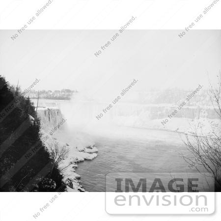 #48822 Royalty-Free Stock Photo Of Ice At The Bottom Of Horseshoe Falls As Seen From Goat Island, Niagara Falls by JVPD